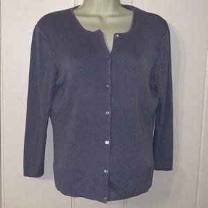 Brooks 346 periwinkle blue silk cardigan